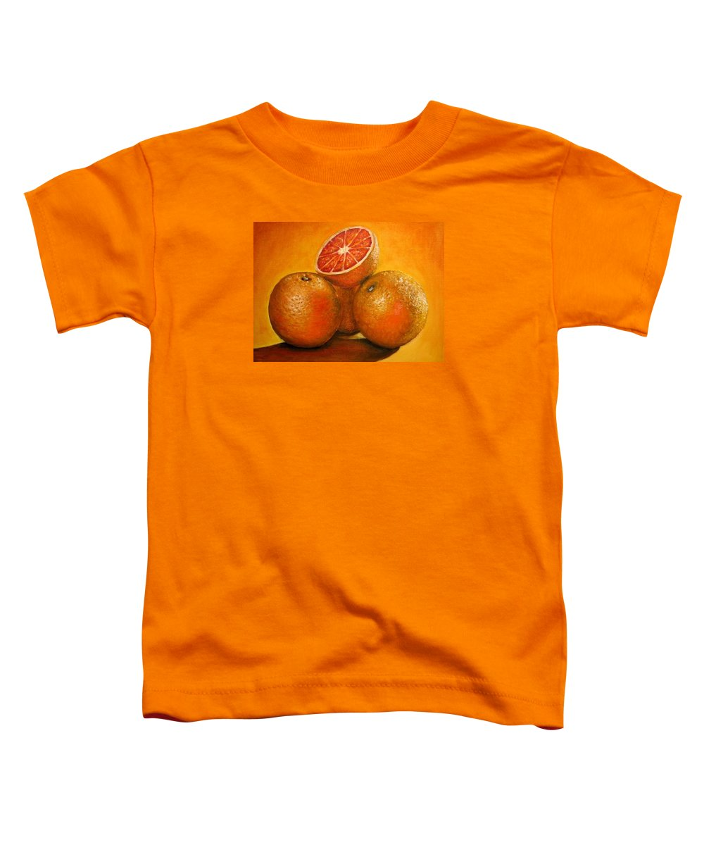 Oranges Toddler T-Shirt featuring the painting Oranges Original Oil Painting by Natalja Picugina