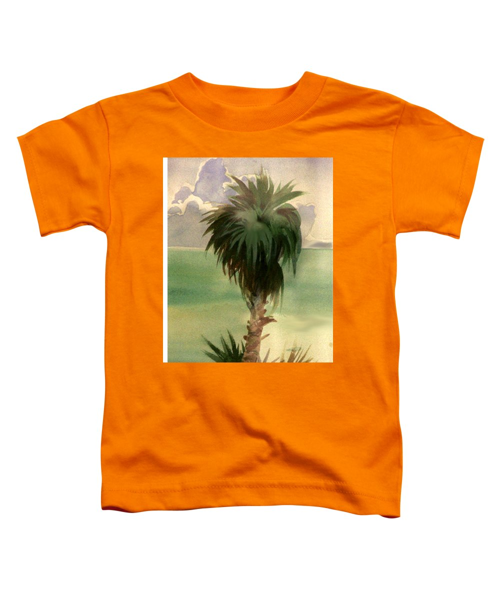 Palm Toddler T-Shirt featuring the painting Palm At Horseshoe Cove by Neal Smith-Willow