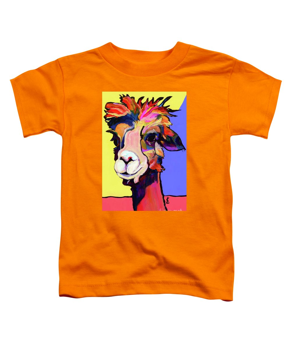 Pat Saunters-white Toddler T-Shirt featuring the painting Peaches by Pat Saunders-White