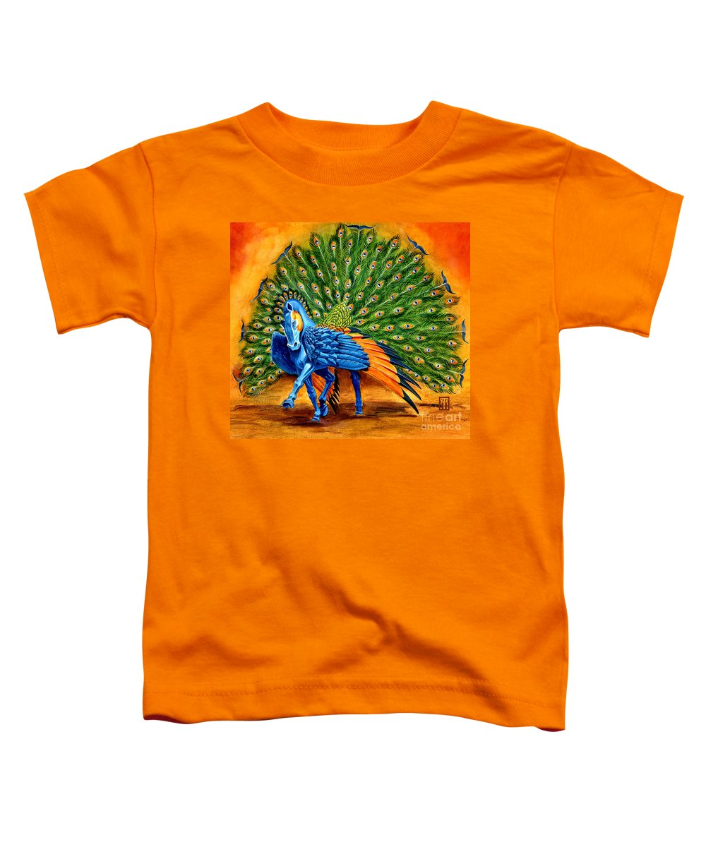 Horse Toddler T-Shirt featuring the painting Peacock Pegasus by Melissa A Benson