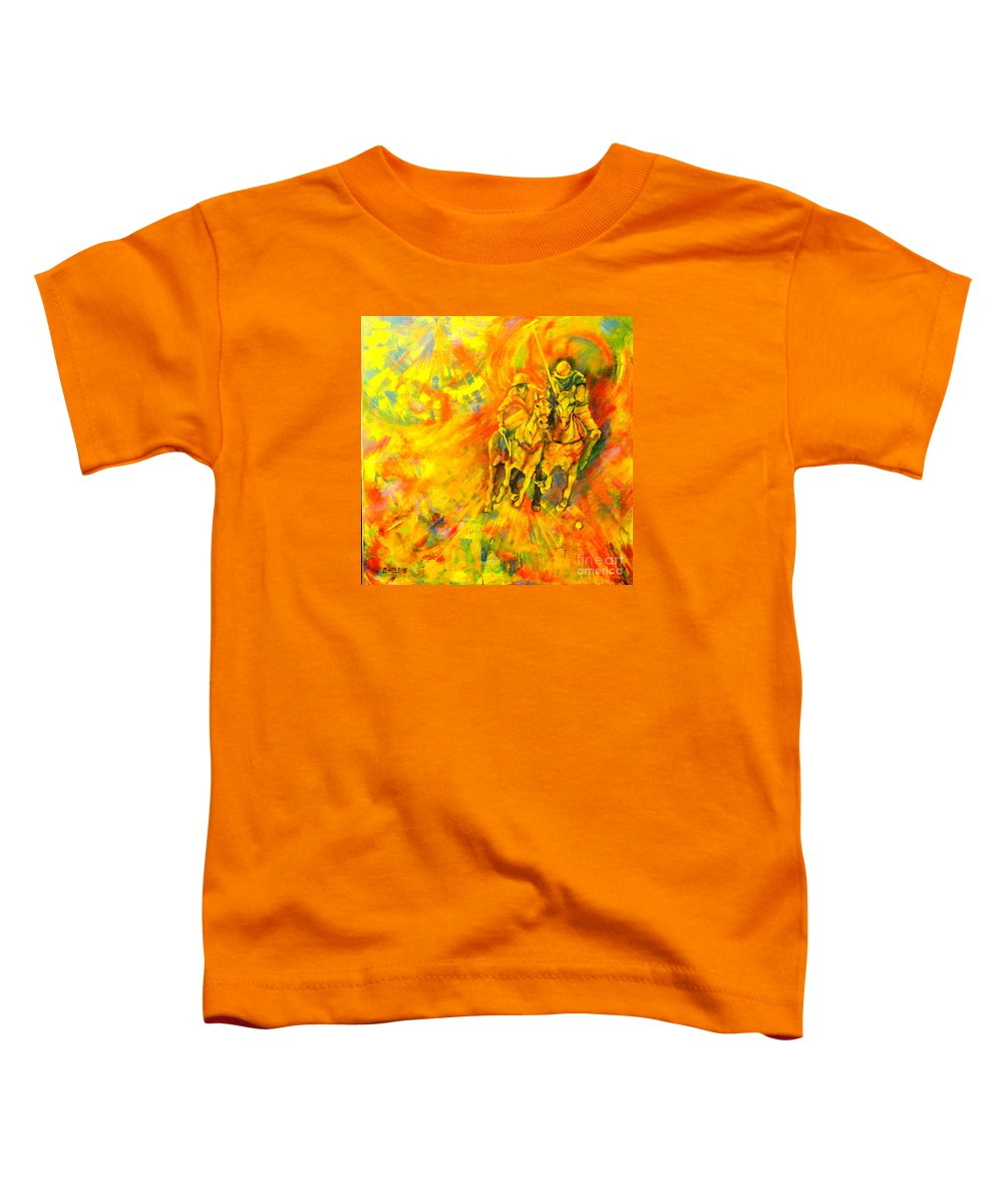 Horses Toddler T-Shirt featuring the painting Poloplayer by Dagmar Helbig