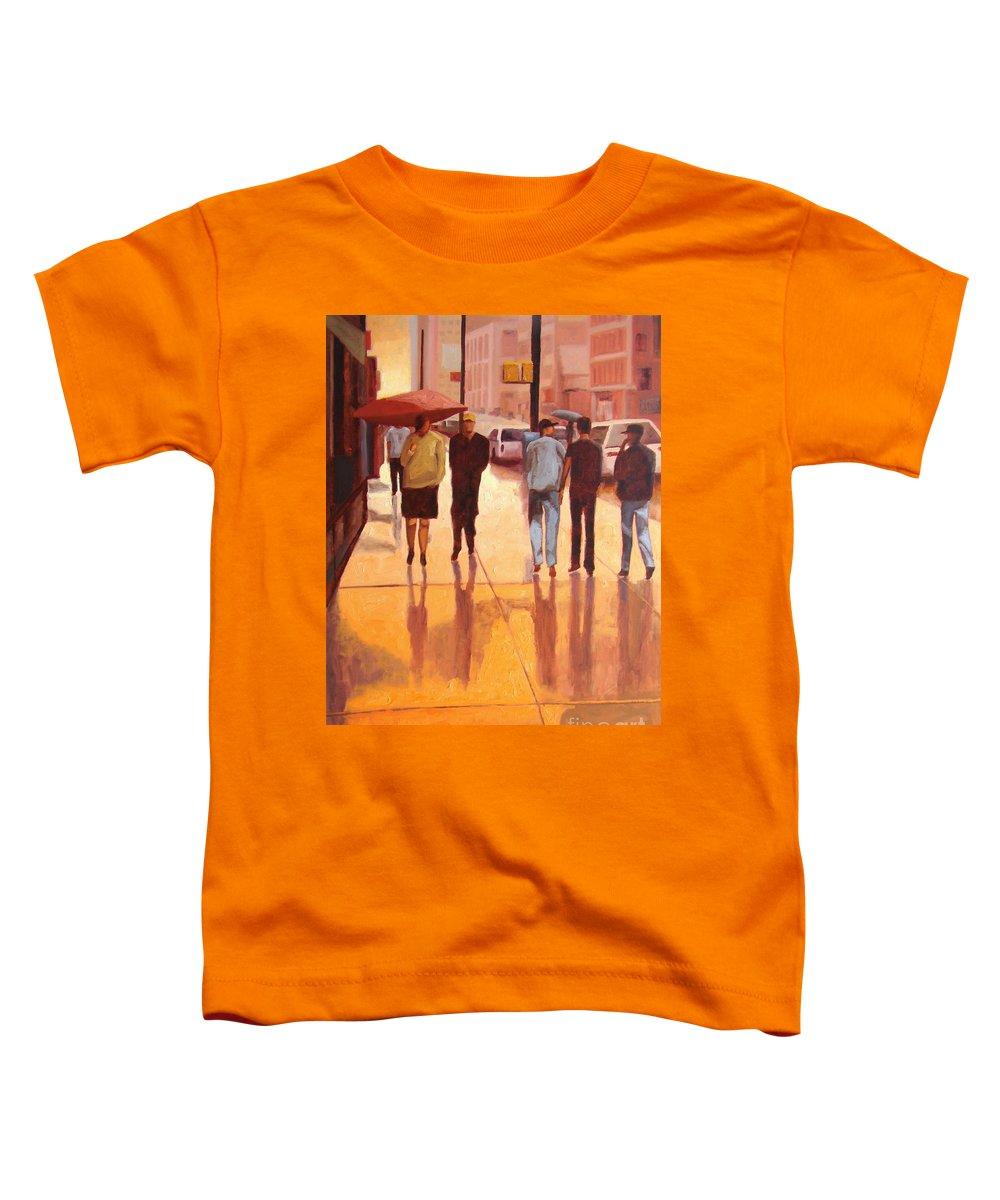 Manhattan Toddler T-Shirt featuring the painting Rain in Manhattan number eighteen by Tate Hamilton