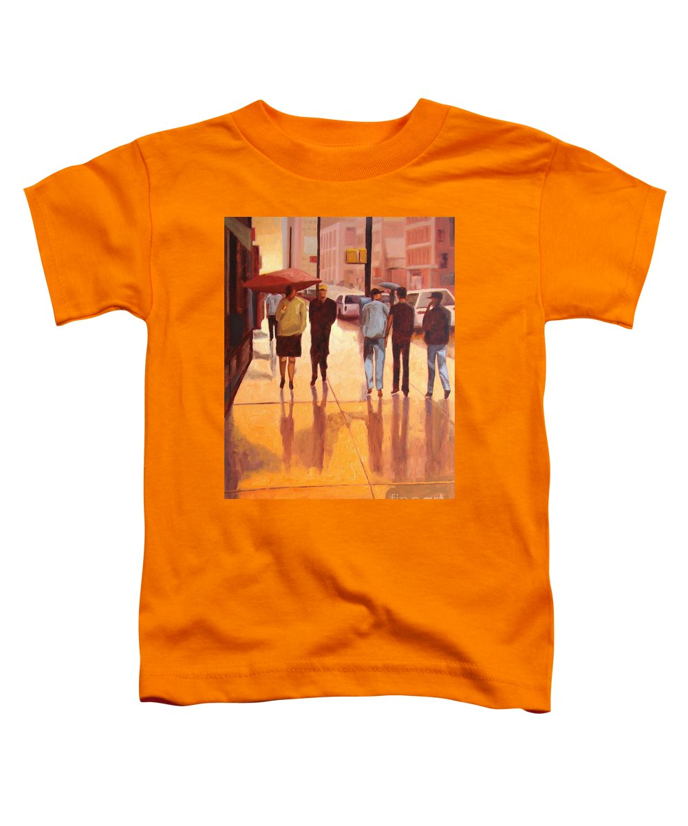 Manhattan Toddler T-Shirt featuring the painting Rain In Manhattan Number Eighteen by Tate Hamilton