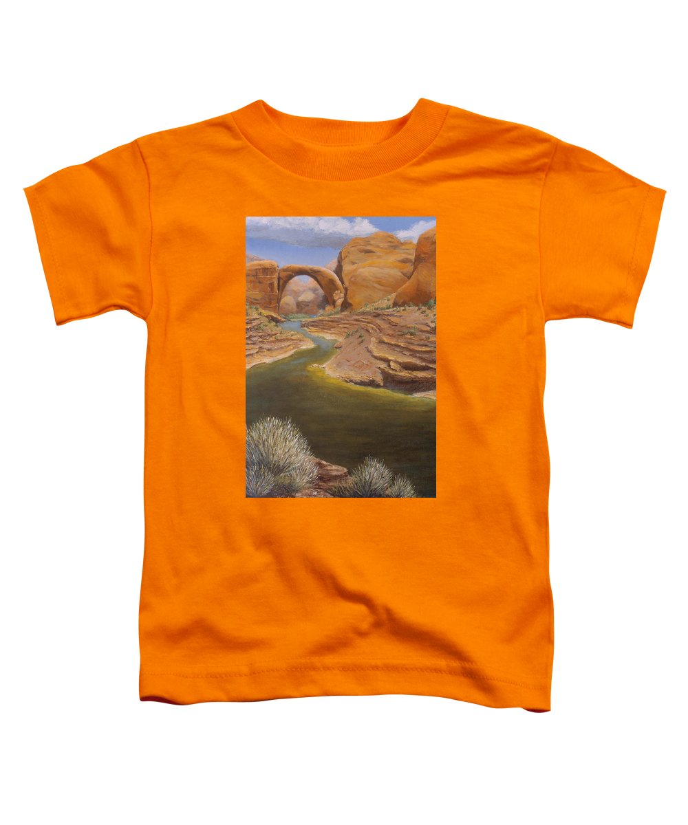Rainbow Bridge Toddler T-Shirt featuring the painting Rainbow Bridge by Jerry McElroy