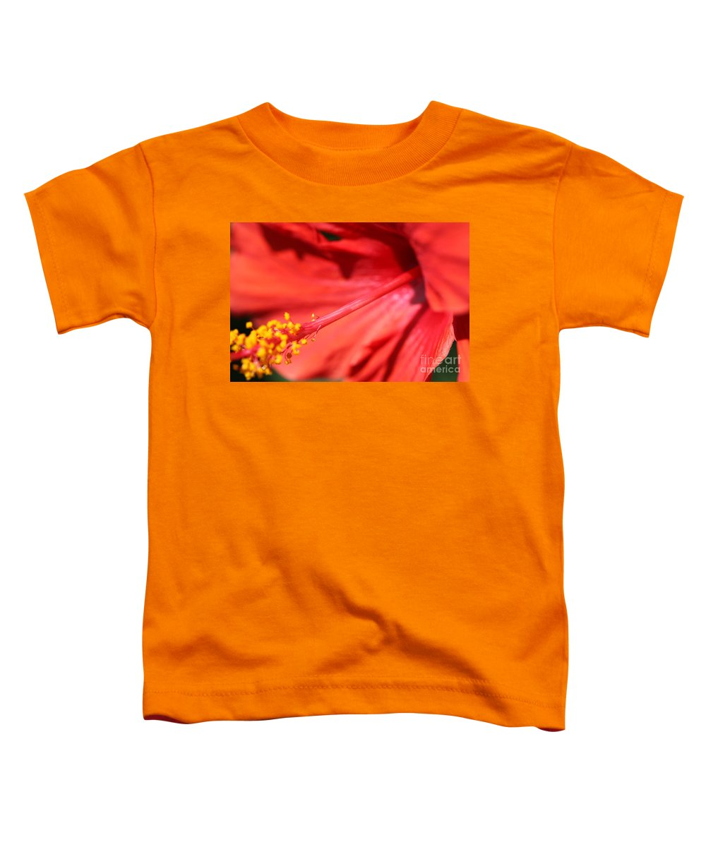 Red Toddler T-Shirt featuring the photograph Red Hibiscus by Nadine Rippelmeyer
