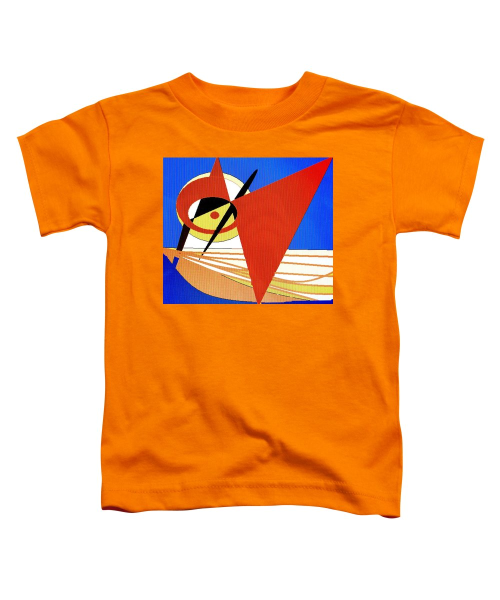 Boat Toddler T-Shirt featuring the digital art Red Sails In The Sunset by Ian MacDonald