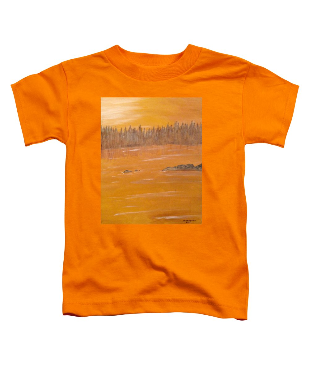 Northern Ontario Toddler T-Shirt featuring the painting Rock Lake Morning 2 by Ian MacDonald