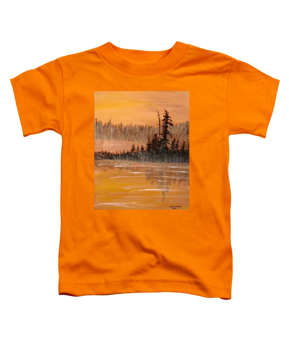 Northern Ontario Toddler T-Shirt featuring the painting Rock Lake Morning 3 by Ian MacDonald