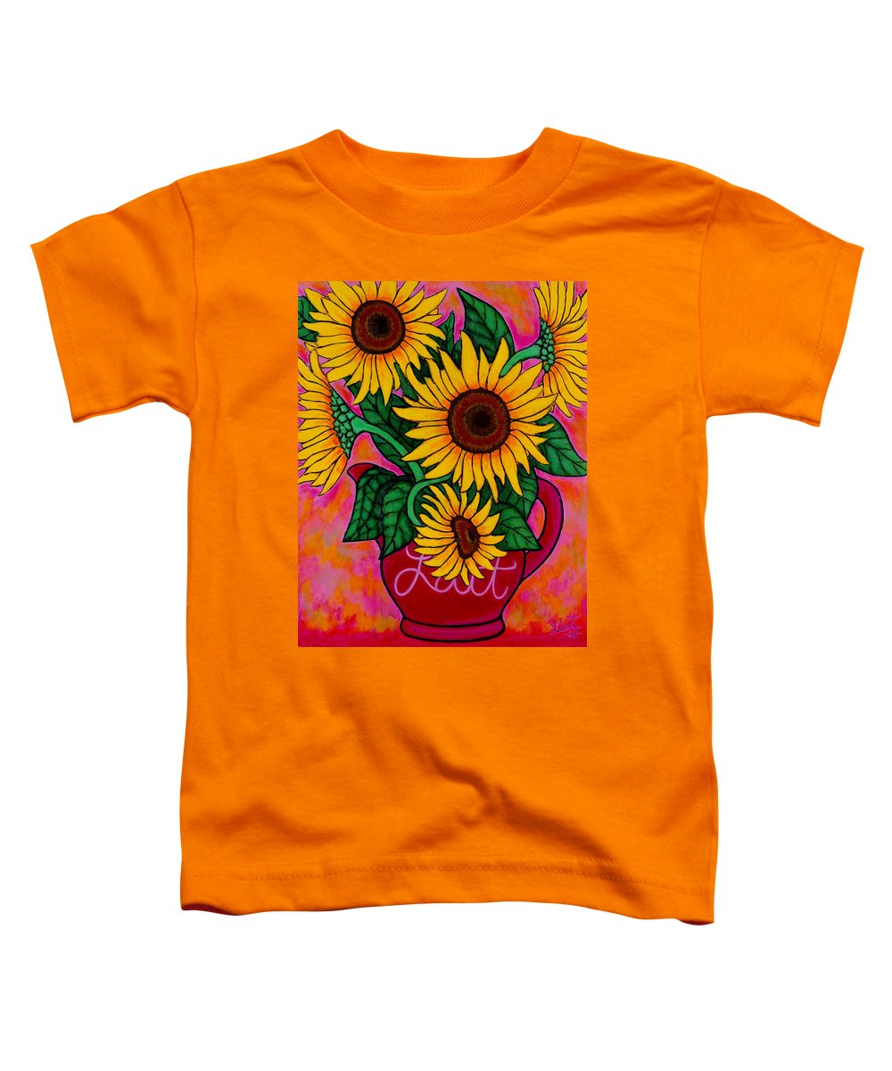 Sunflowers Toddler T-Shirt featuring the painting Saturday Morning Sunflowers by Lisa Lorenz