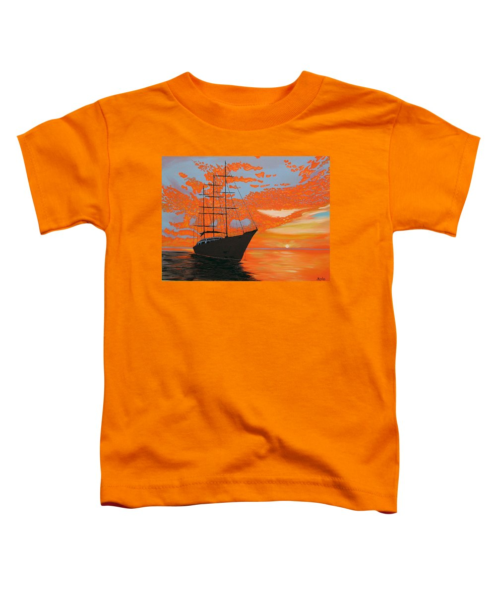 Seascape Toddler T-Shirt featuring the painting Sittin' On The Bay by Marco Morales
