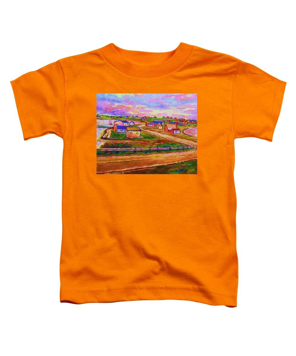 Sunrise Toddler T-Shirt featuring the painting Sleepy Little Village by Carole Spandau