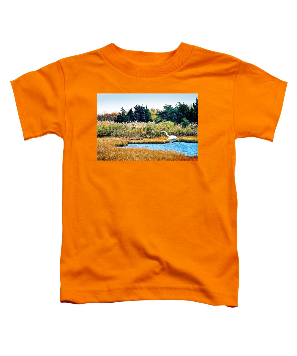 Landscape Toddler T-Shirt featuring the photograph Snowy Egret-island Beach State Park N.j. by Steve Karol