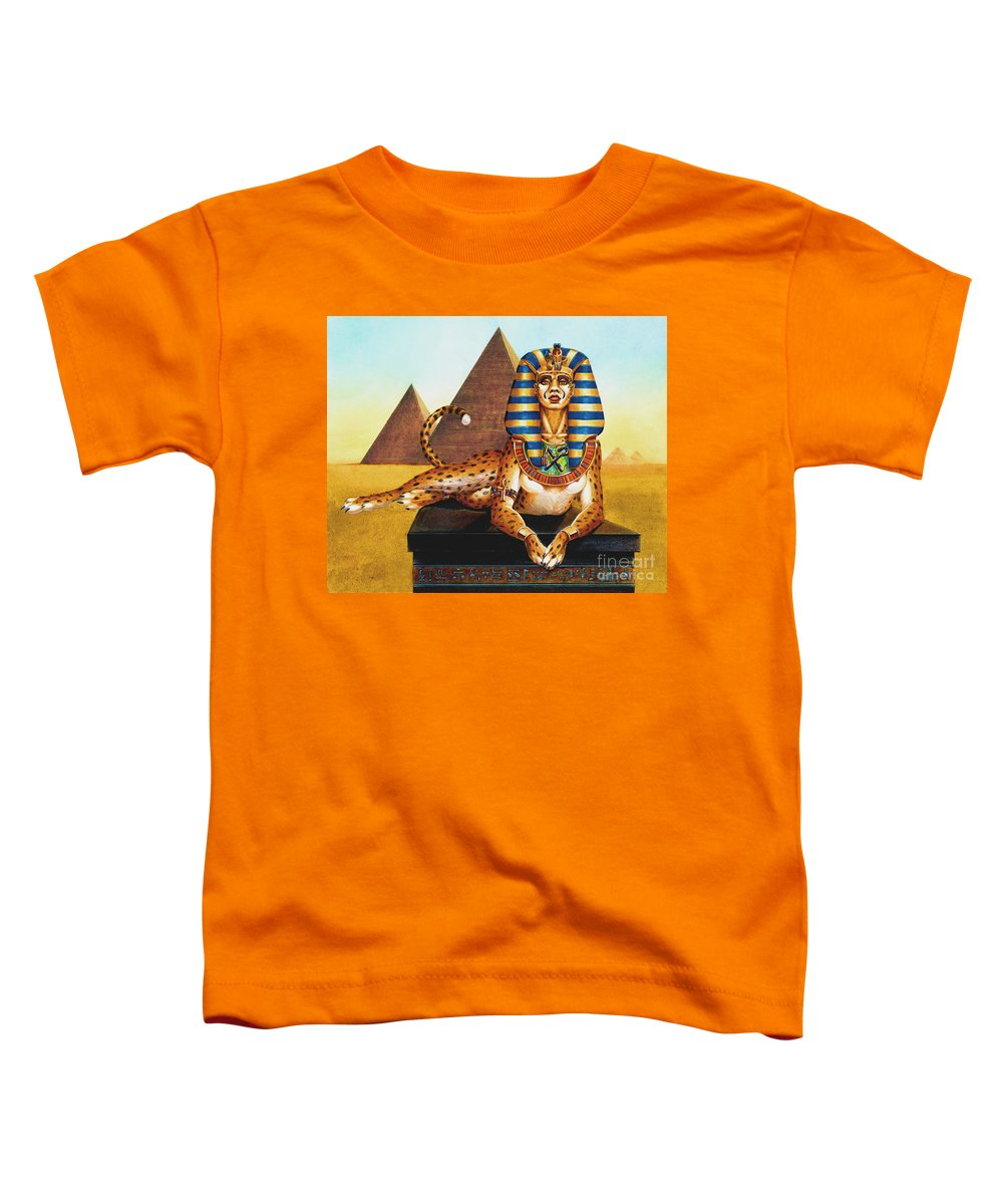 Cat Toddler T-Shirt featuring the painting Sphinx On Plinth by Melissa A Benson
