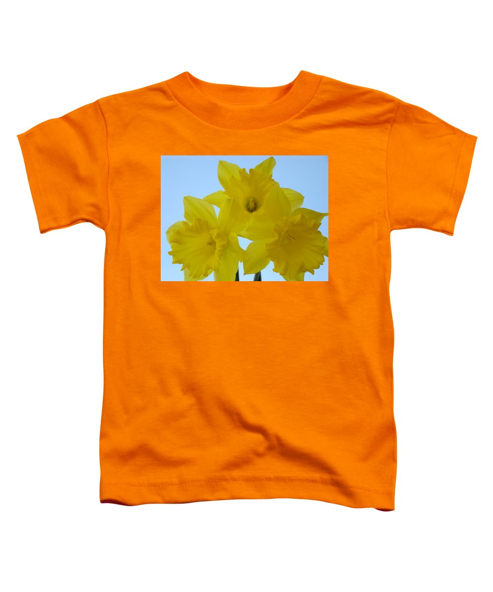 �daffodils Artwork� Toddler T-Shirt featuring the photograph Spring Daffodils 2 Flowers Art Prints Gifts Blue Sky by Baslee Troutman