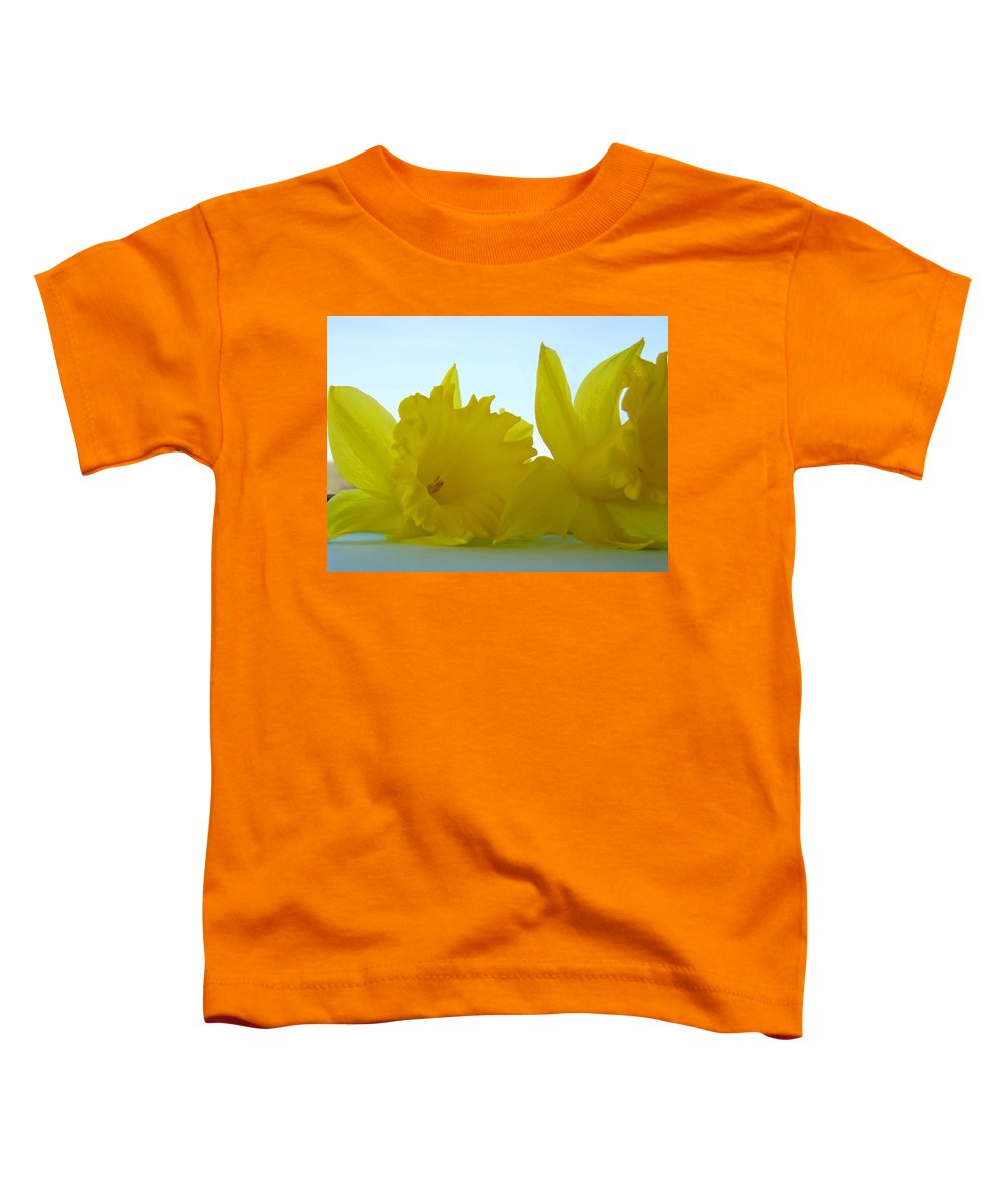 �daffodils Artwork� Toddler T-Shirt featuring the photograph Spring Daffodils Flowers Art Prints Blue Skies by Baslee Troutman