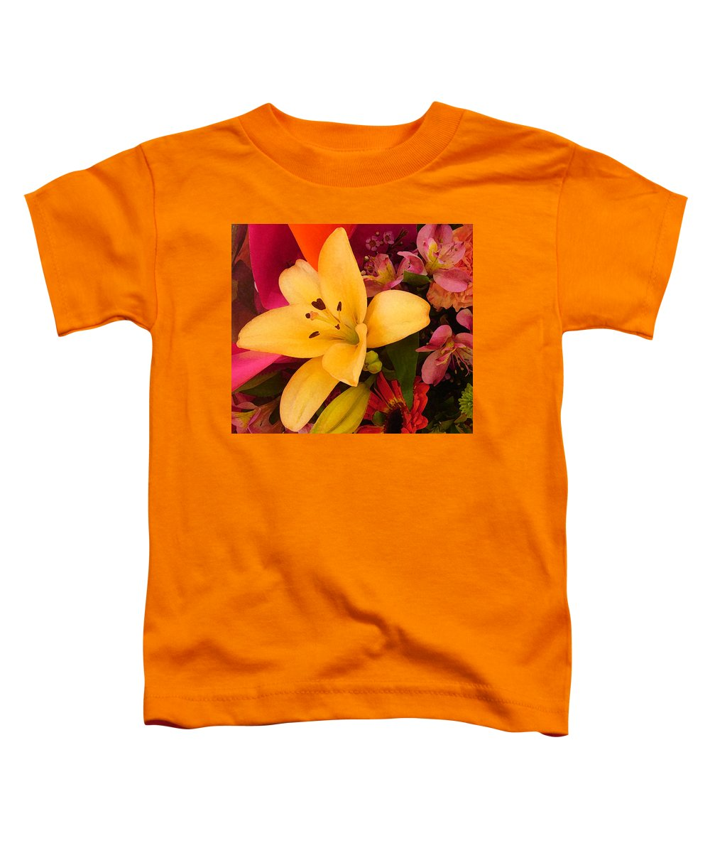 Lily Toddler T-Shirt featuring the painting Spring Lily Bouquet by Amy Vangsgard