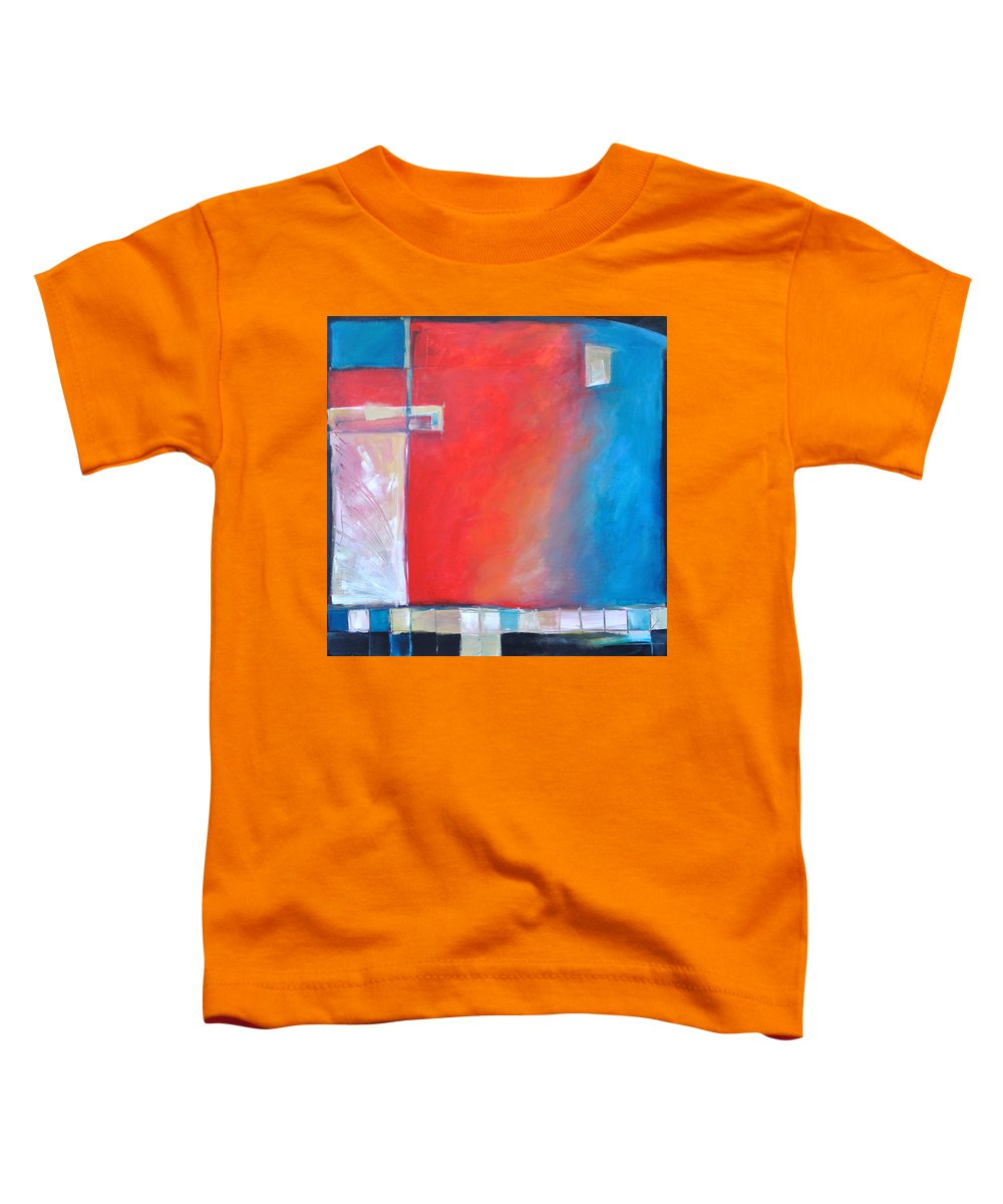 Abstract Toddler T-Shirt featuring the painting Structures And Solitude Revisited by Tim Nyberg