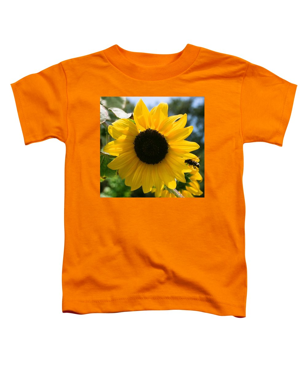 Flower Toddler T-Shirt featuring the photograph Sunflower With Bee by Dean Triolo