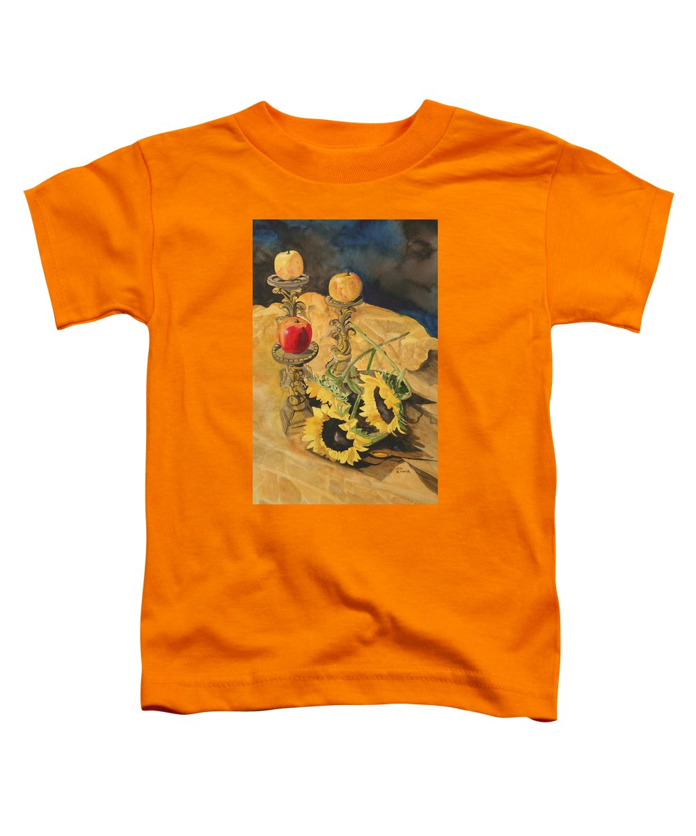 Still Life Toddler T-Shirt featuring the painting Sunflowers And Apples by Jean Blackmer