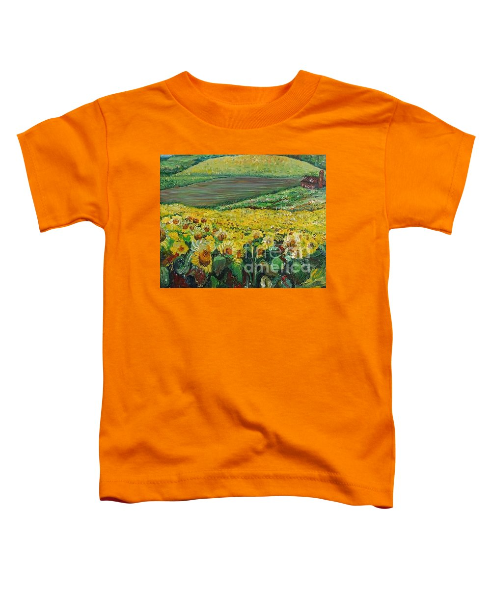 A Field Of Yellow Sunflowers Toddler T-Shirt featuring the painting Sunflowers In Provence by Nadine Rippelmeyer