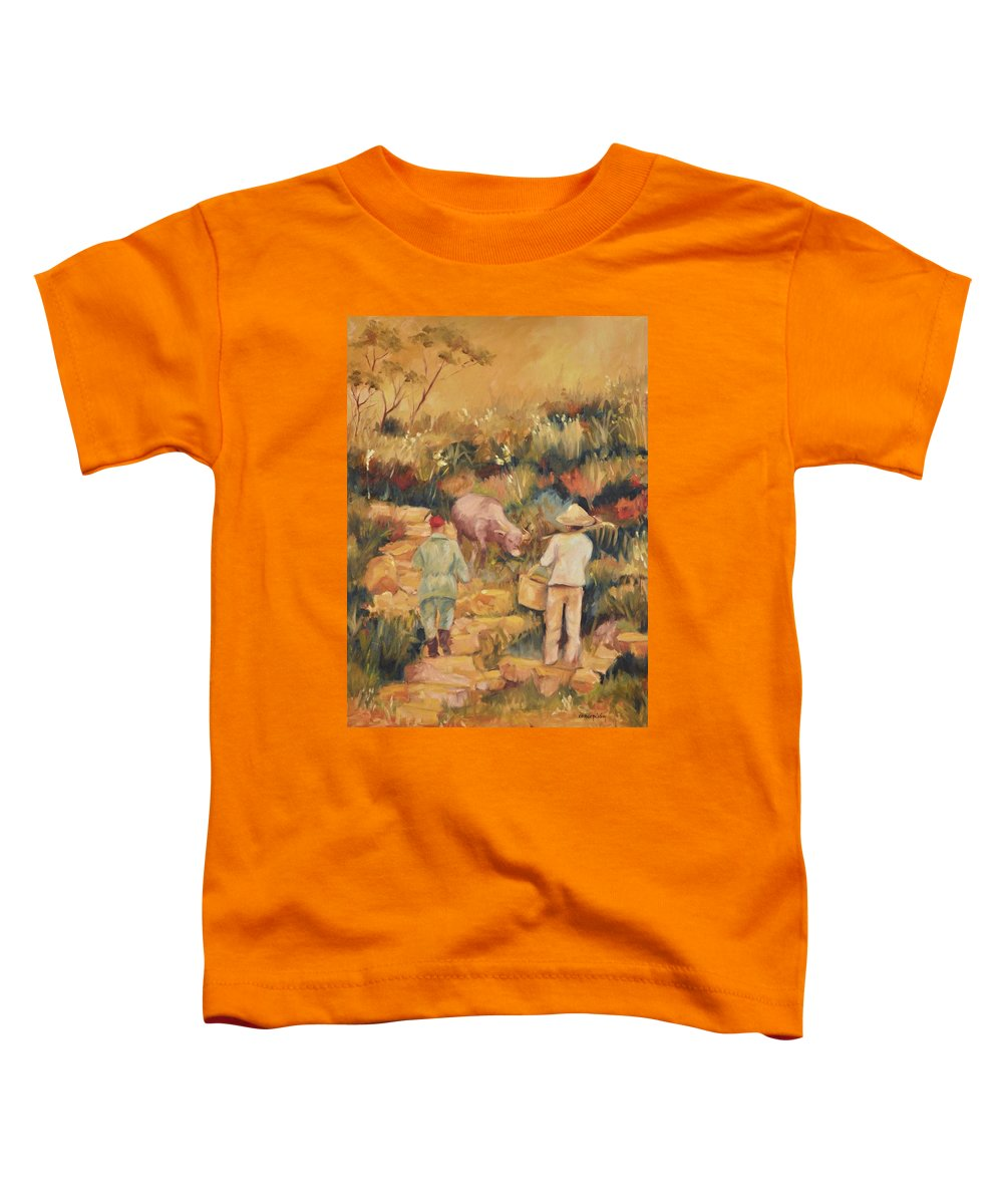 Water Buffalo Toddler T-Shirt featuring the painting Taipei Buffalo Herder by Ginger Concepcion