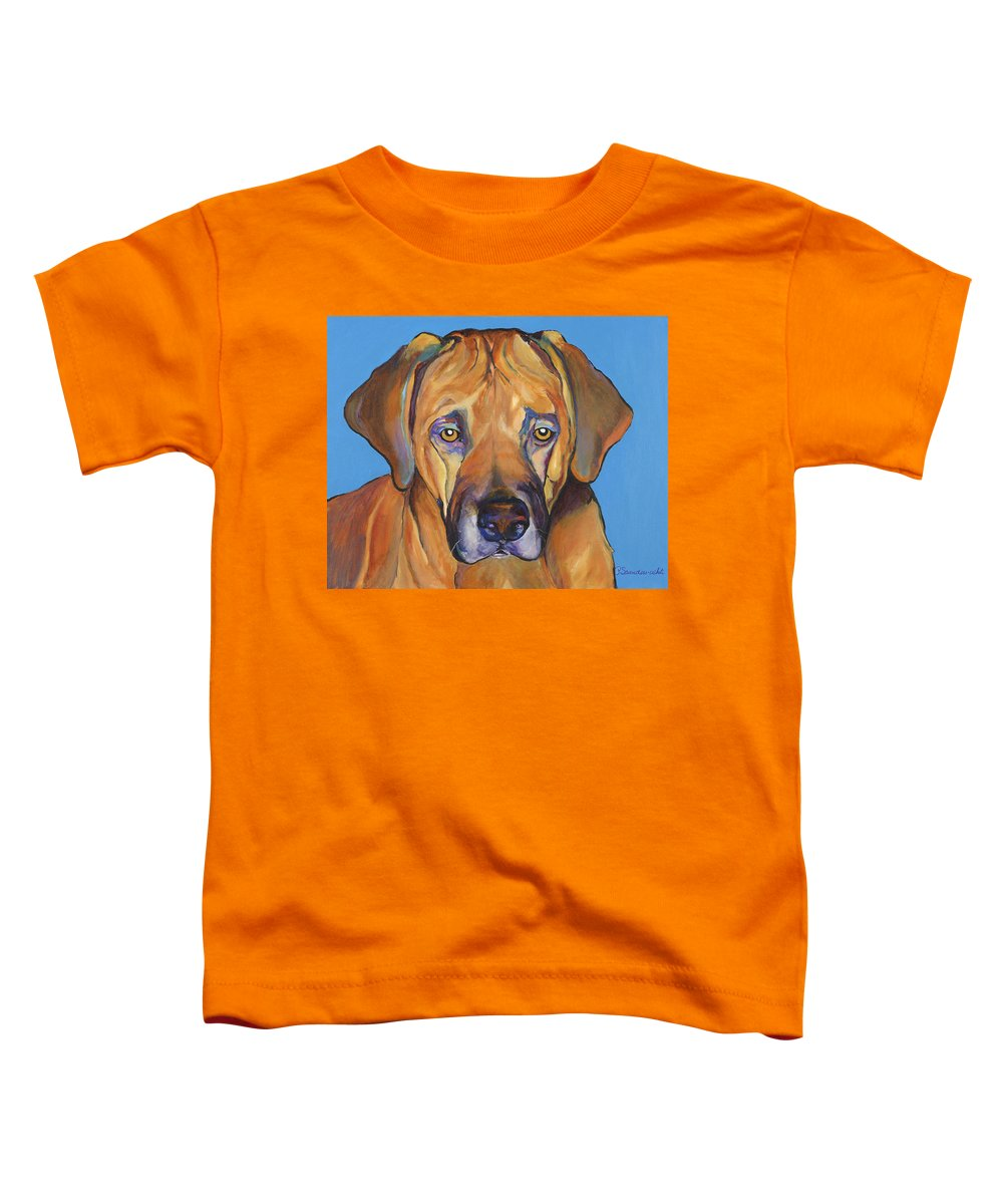 Rhodesian Ridgeback Dog Ridgeback African Colorful Orange Gold Yellow Red Toddler T-Shirt featuring the painting Talen by Pat Saunders-White