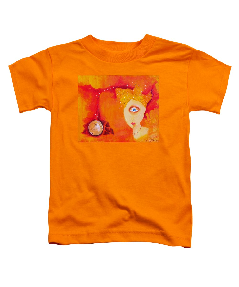 Tangerine Orange Eyes Woman Pearls Thoughts Life Egg Toddler T-Shirt featuring the painting Tangerine Dream by Veronica Jackson