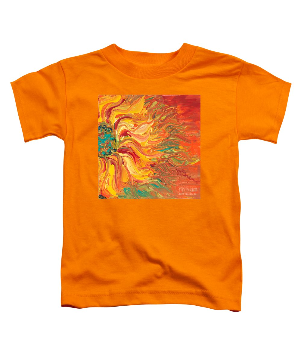 Sunjflower Toddler T-Shirt featuring the painting Textured Fire Sunflower by Nadine Rippelmeyer