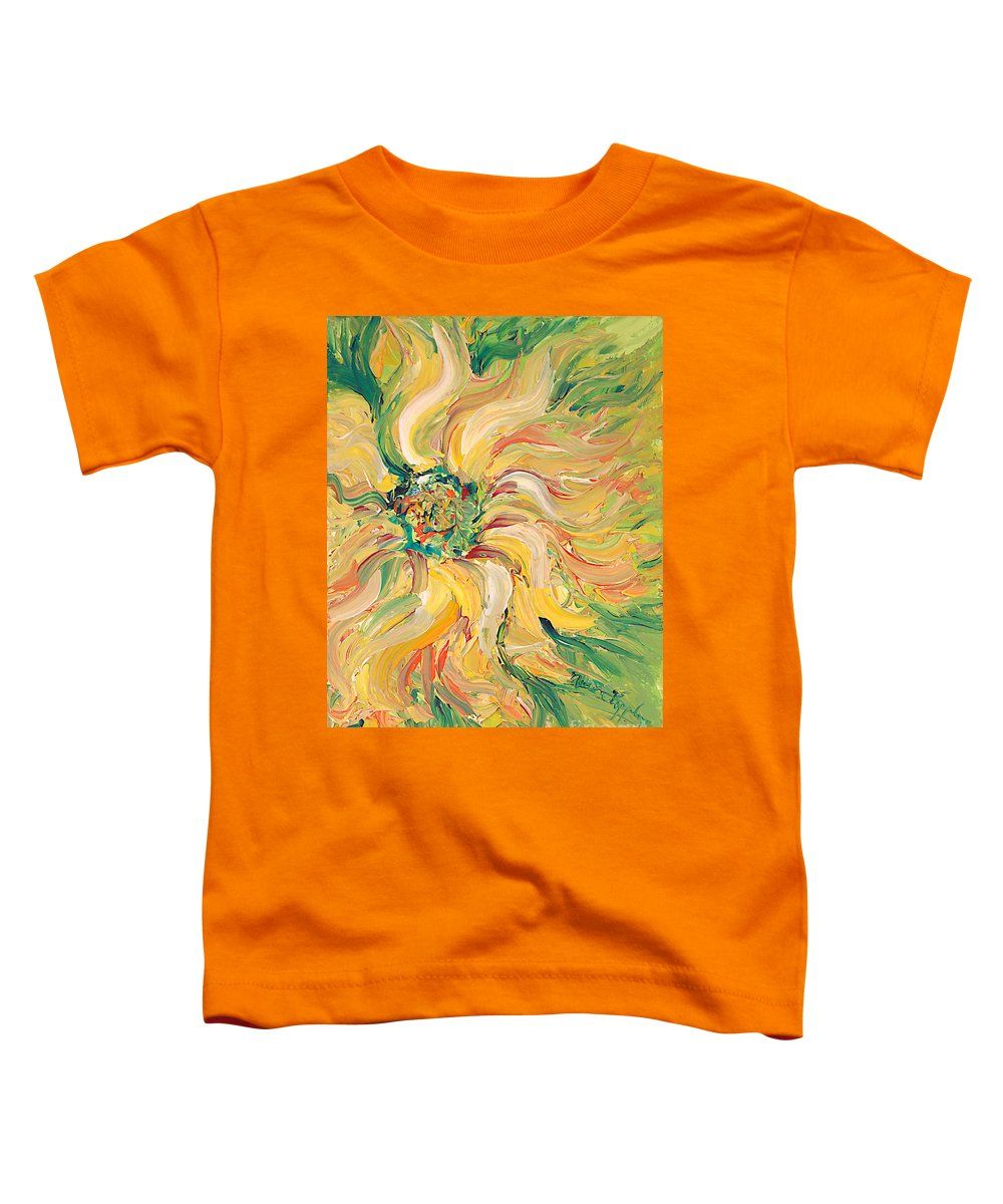 Texture Toddler T-Shirt featuring the painting Textured Green Sunflower by Nadine Rippelmeyer