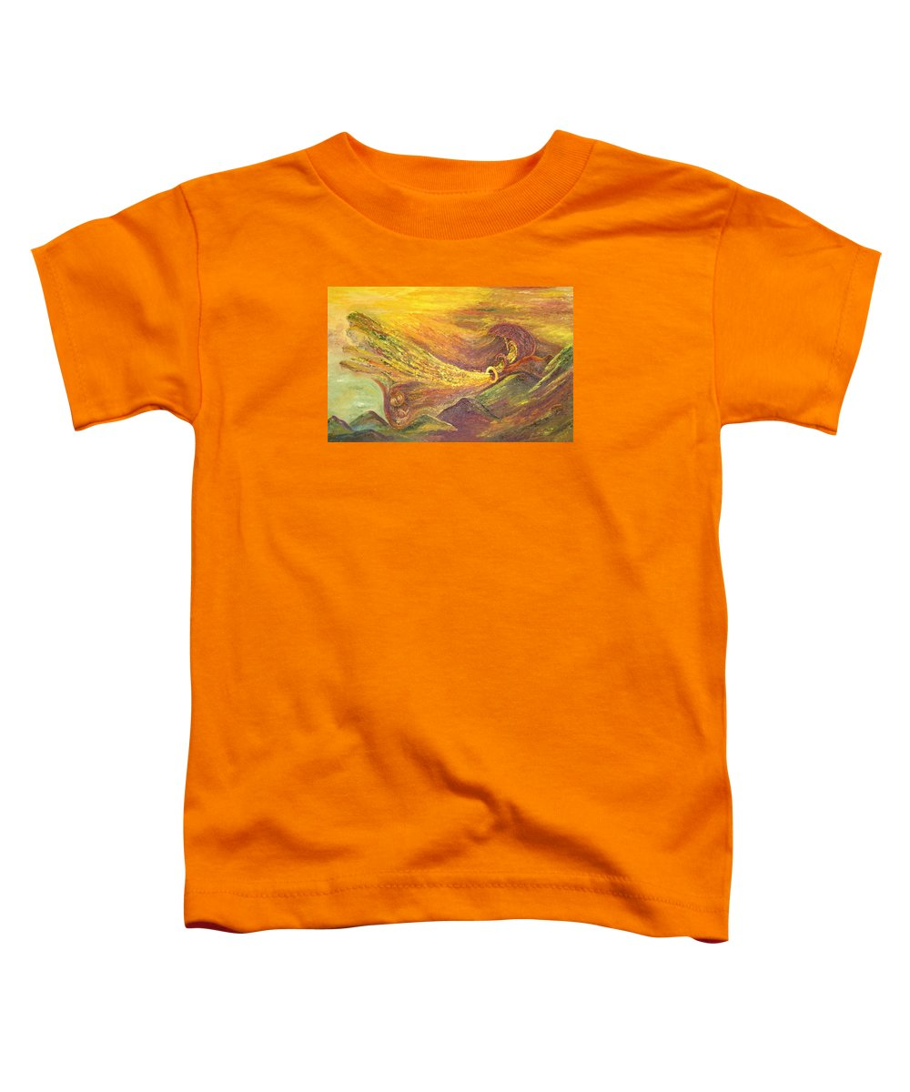 Autumn Toddler T-Shirt featuring the painting The Autumn Music Wind by Karina Ishkhanova
