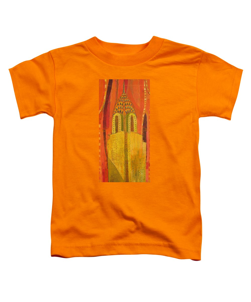 Abstract Cityscape Toddler T-Shirt featuring the painting The Chrysler In Red by Habib Ayat