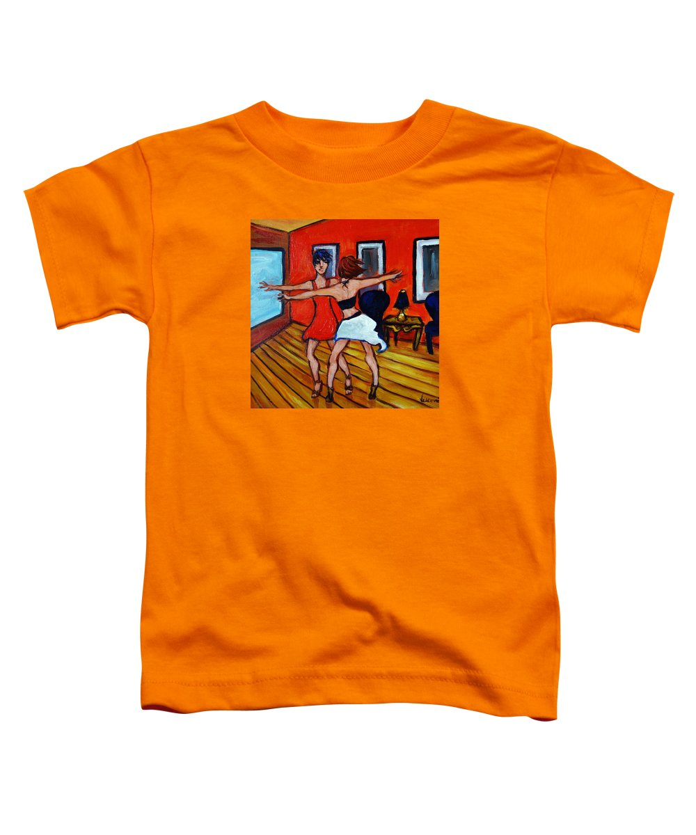 Dancers Toddler T-Shirt featuring the painting The Dancers by Valerie Vescovi