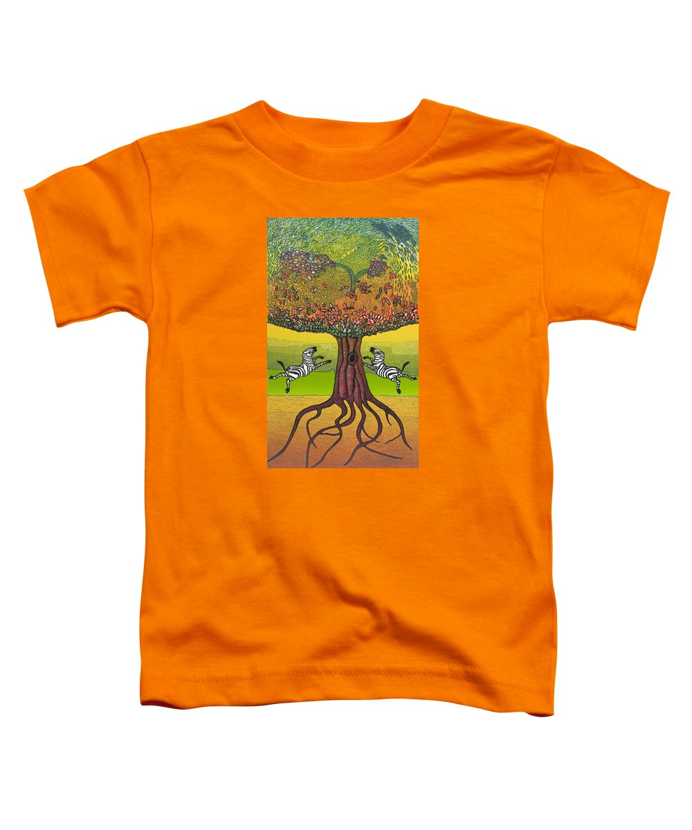 Landscape Toddler T-Shirt featuring the mixed media The Life-giving Tree. by Jarle Rosseland