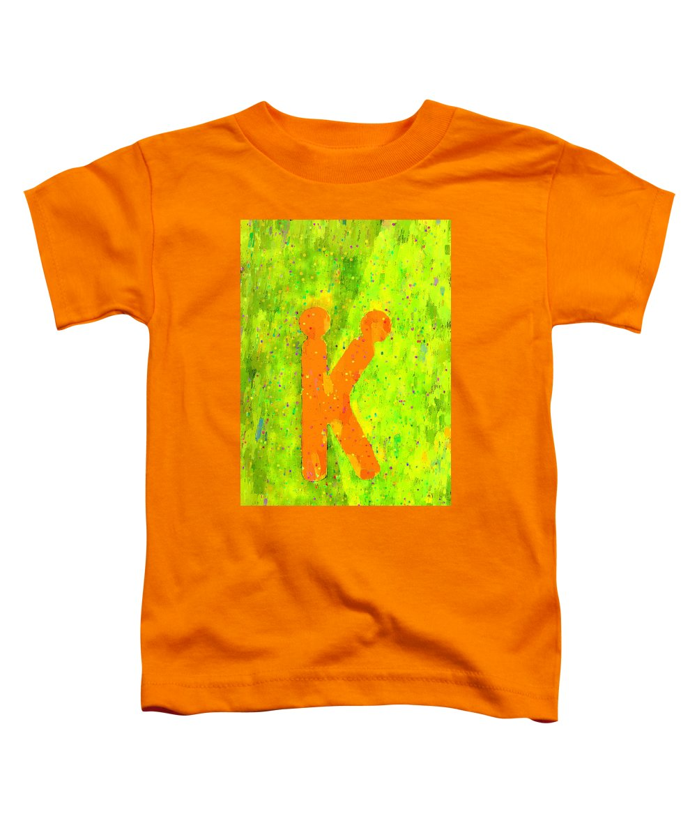 K Toddler T-Shirt featuring the painting The Sexy K - Orange - - Pa by Leonardo Digenio
