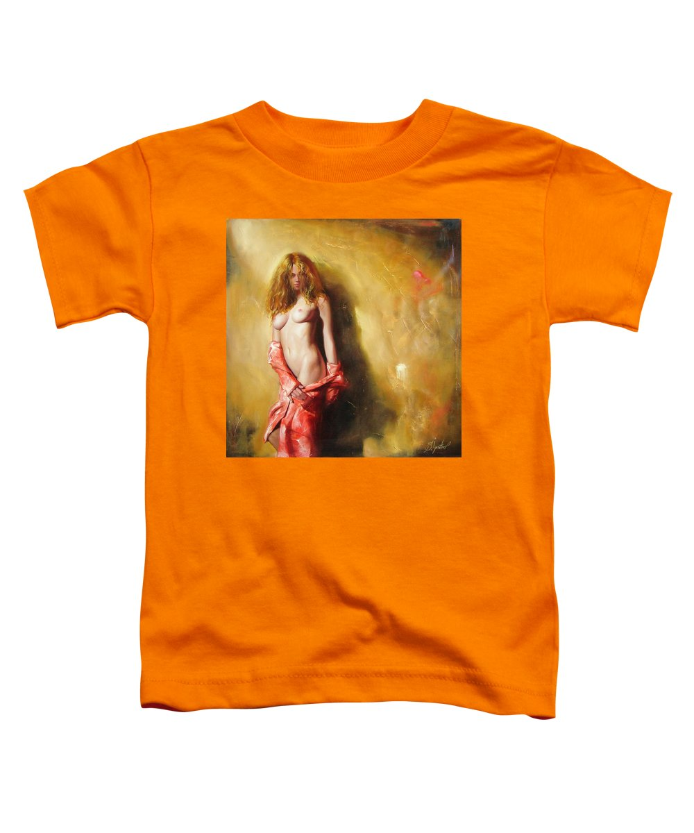 Art Toddler T-Shirt featuring the painting The Sun In Red by Sergey Ignatenko