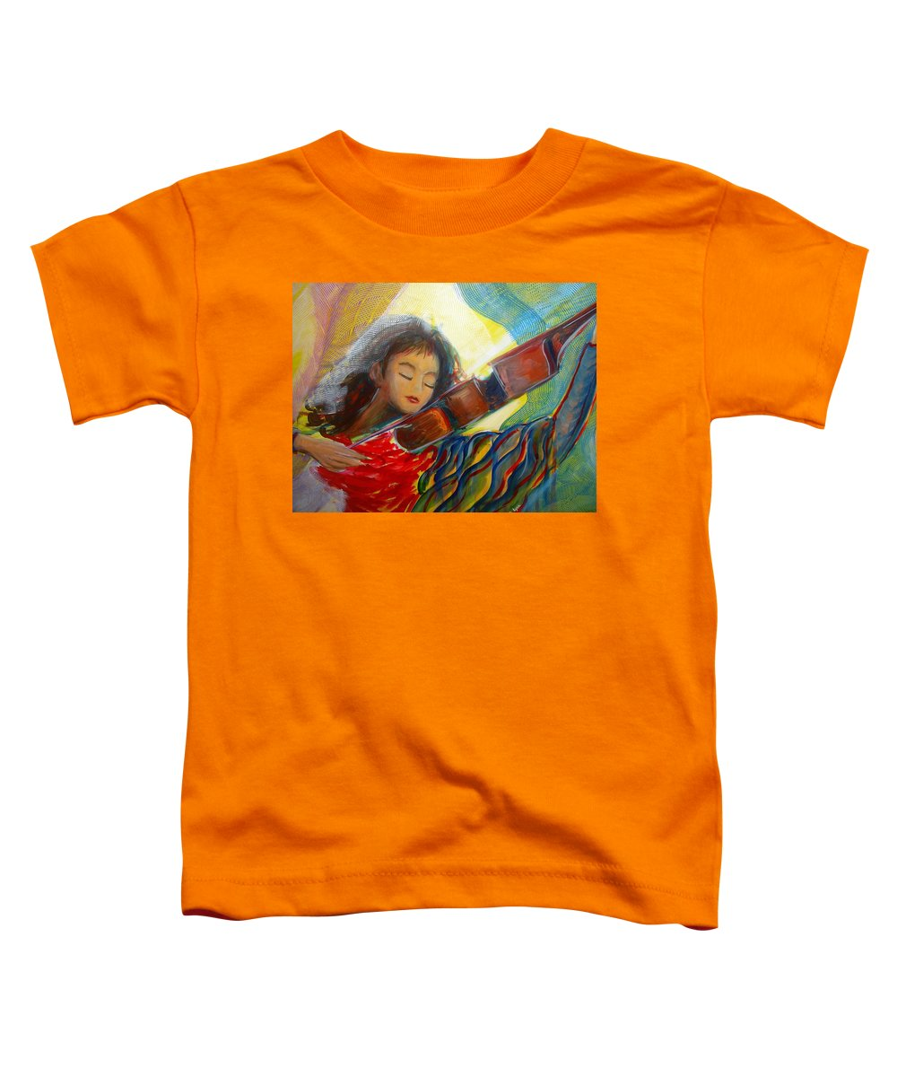 Violin Toddler T-Shirt featuring the painting The Sweetest Sounds by Regina Walsh