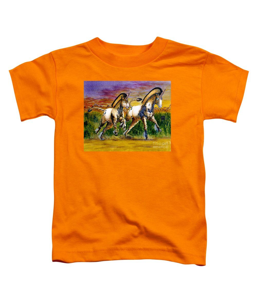 Artwork Toddler T-Shirt featuring the painting Unicorns In Sunset by Melissa A Benson