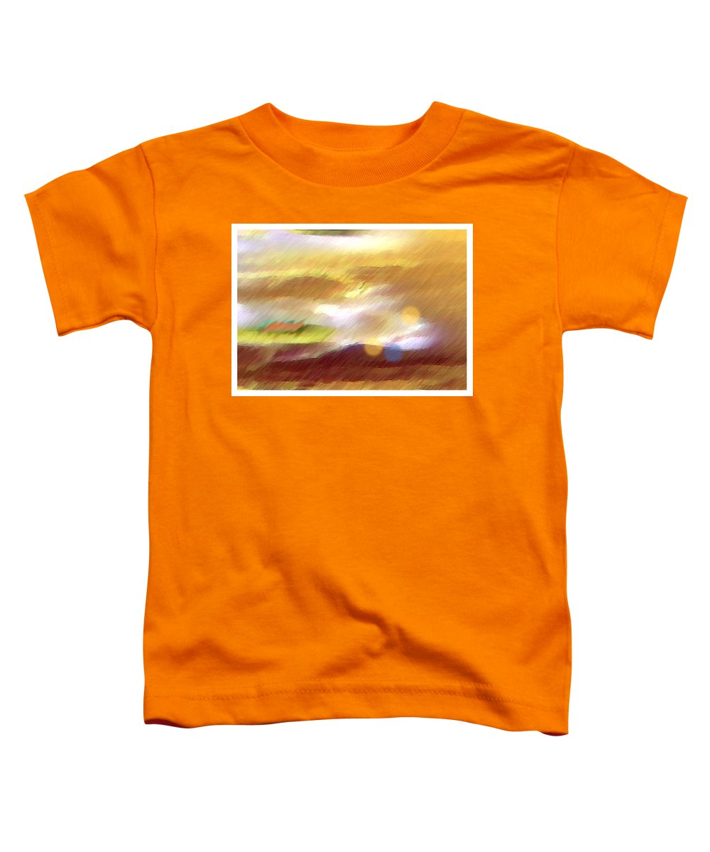 Landscape Toddler T-Shirt featuring the painting Valleylights by Anil Nene
