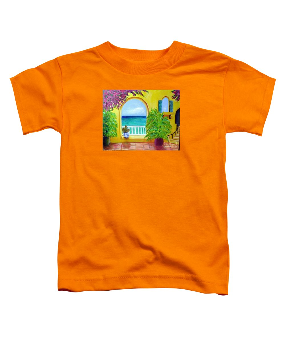 Patio Toddler T-Shirt featuring the painting Vista Del Agua by Laurie Morgan
