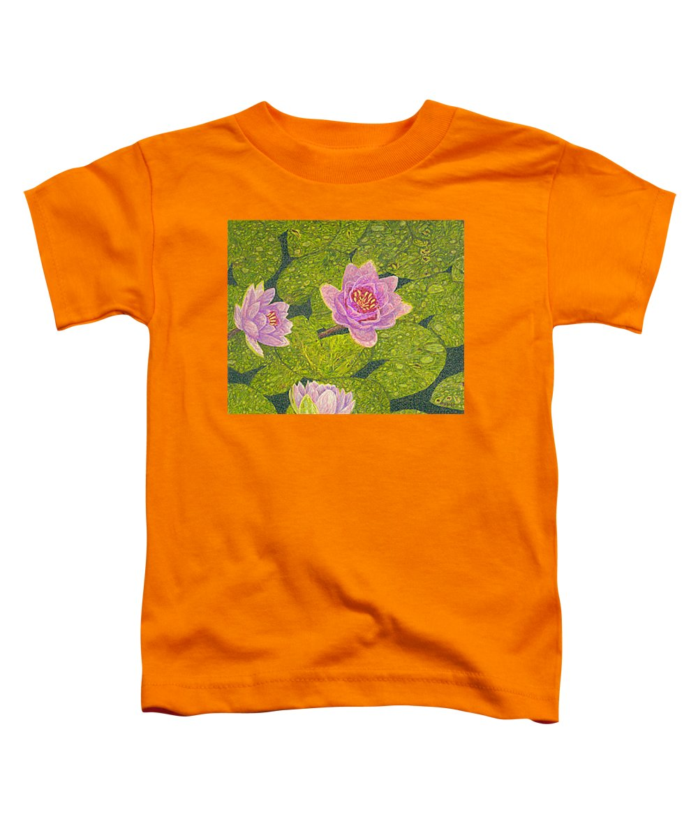 Water Lilies Toddler T-Shirt featuring the drawing Water Lilies Lily Flowers Lotuses Fine Art Prints Contemporary Modern Art Garden Nature Botanical by Baslee Troutman