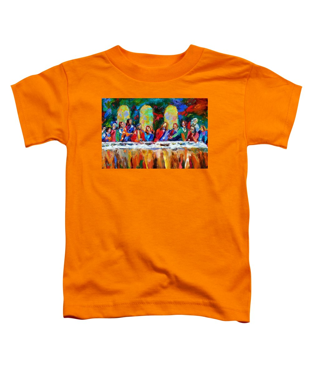 Last Supper Toddler T-Shirt featuring the painting Who Among Us by Debra Hurd