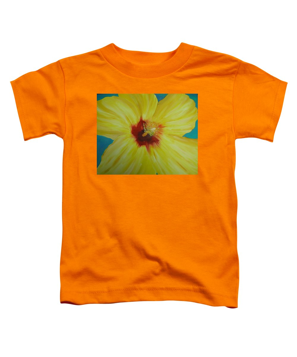 Flower Toddler T-Shirt featuring the print Yellow Hibiscus by Melinda Etzold