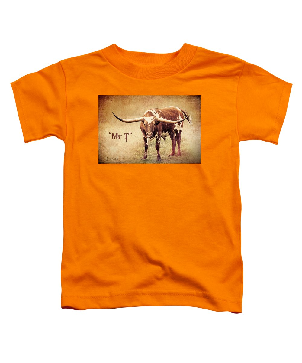 Longhorn Toddler T-Shirt featuring the digital art Mr T Portrait by Linda Lee Hall