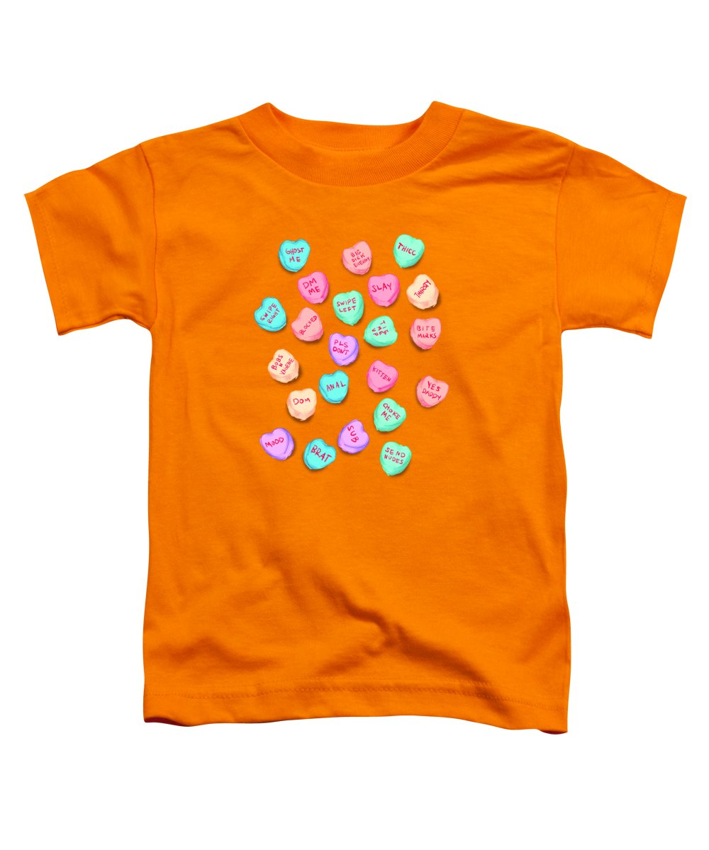 Valentines Toddler T-Shirt featuring the drawing New Convo Hearts by Ludwig Van Bacon