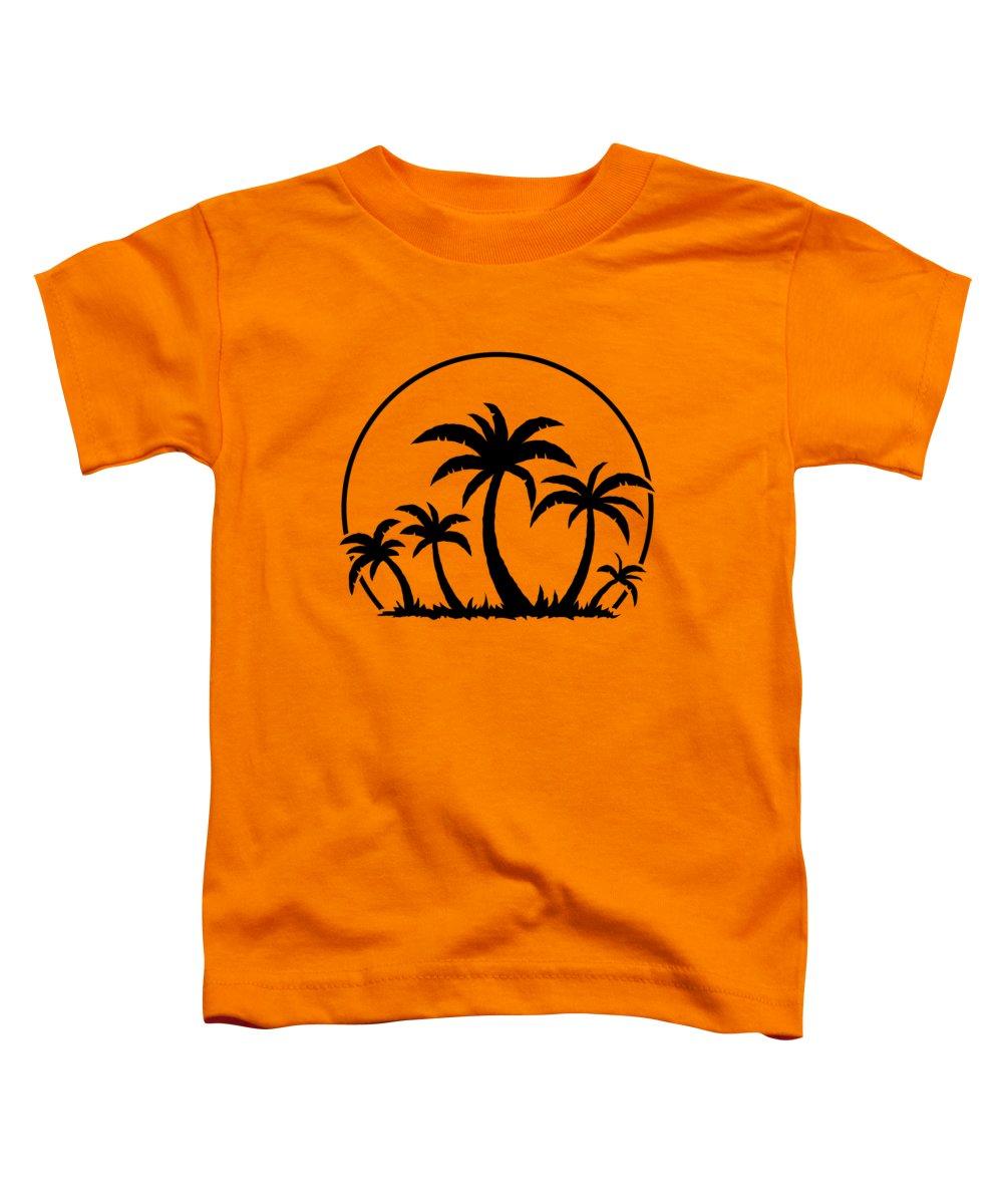 Beach Toddler T-Shirt featuring the digital art Palm Trees And Sunset in Black by John Schwegel