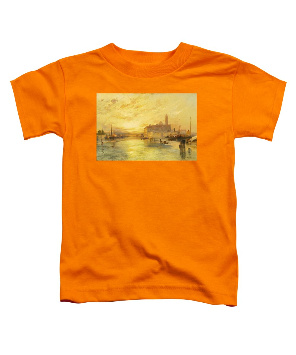 Nature Toddler T-Shirt featuring the painting Thomas Moran 1837-1926 Sunset In Venice by Thomas Moran