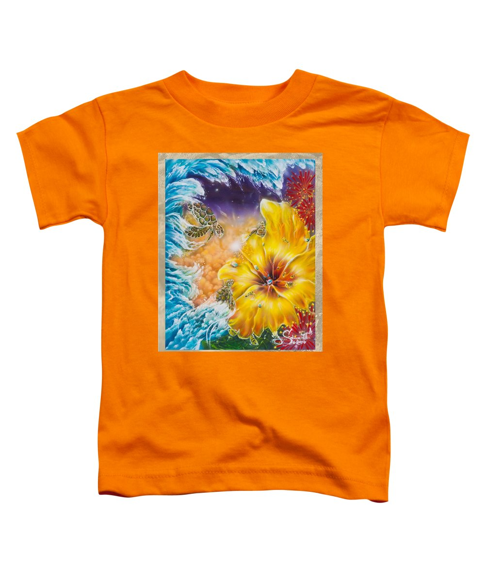 Aloha! Honu Hawaii Art Hibiscus Coral Reefs Flowers Floral Reefs Toddler T-Shirt featuring the painting Wave of the Honu by Joel Salinas III