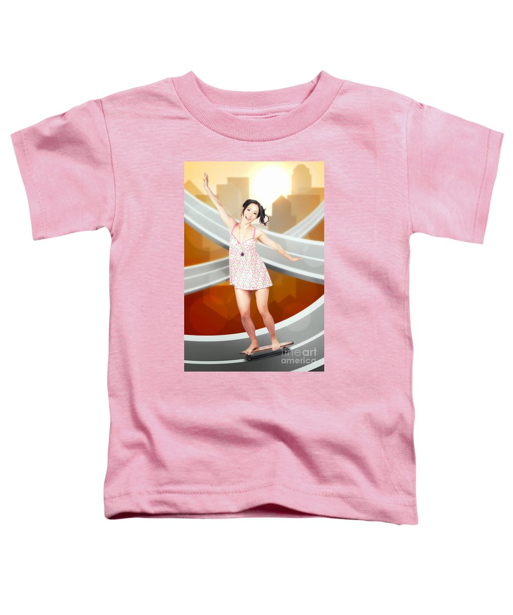 Skateboard Toddler T-Shirt featuring the photograph Beautiful Smiling Skater Woman. City Skateboarding by Jorgo Photography - Wall Art Gallery