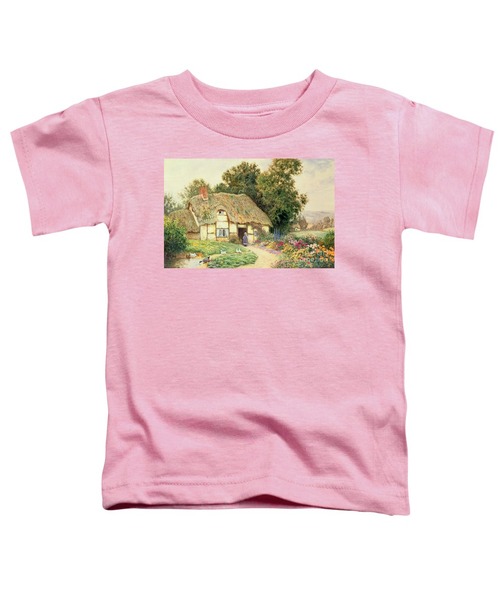 Cottage Toddler T-Shirt featuring the painting A Cottage By A Duck Pond by Arthur Claude Strachan