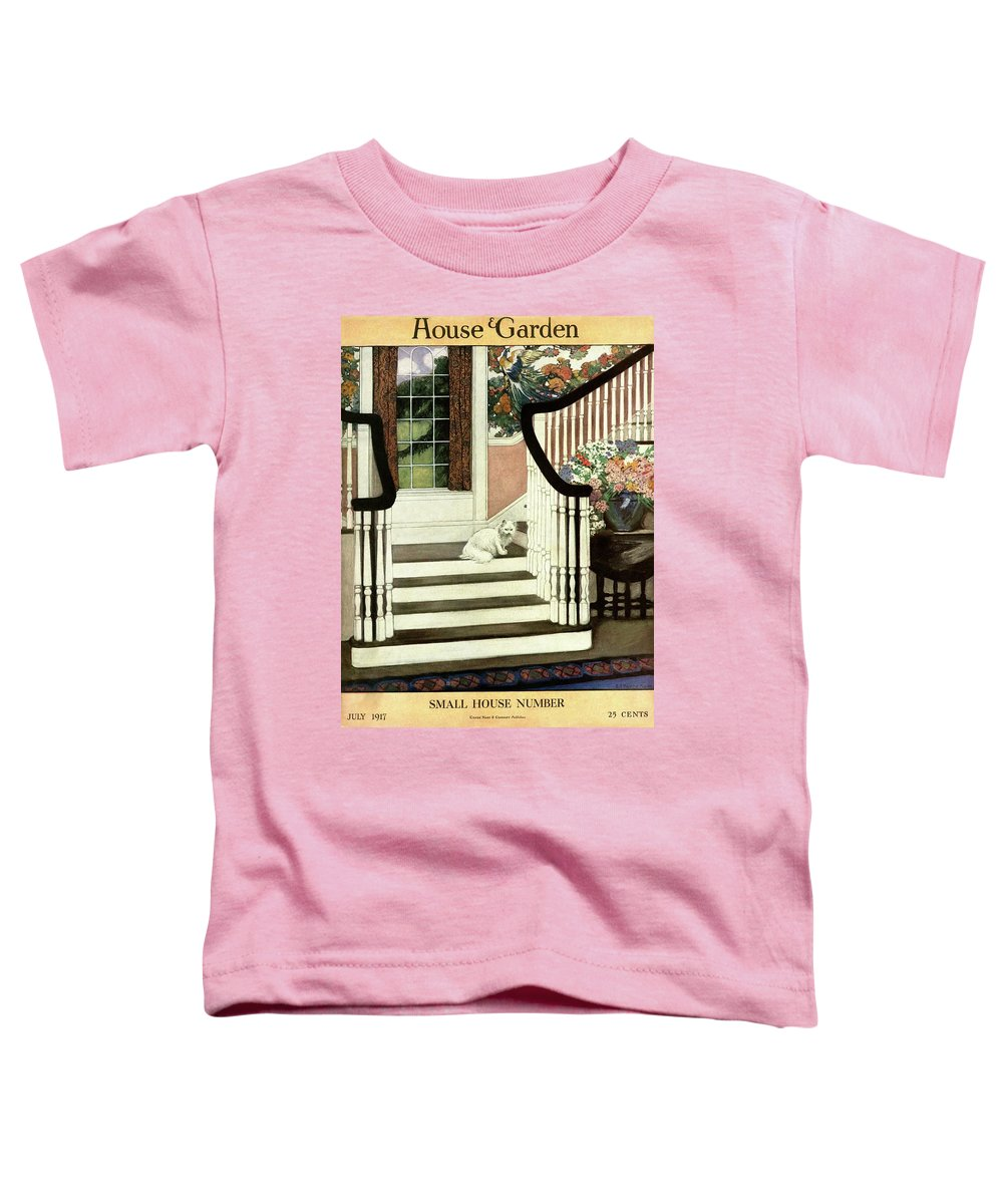 Animal Toddler T-Shirt featuring the photograph A House And Garden Cover Of A Cat On A Staircase by Ethel Franklin Betts Baines